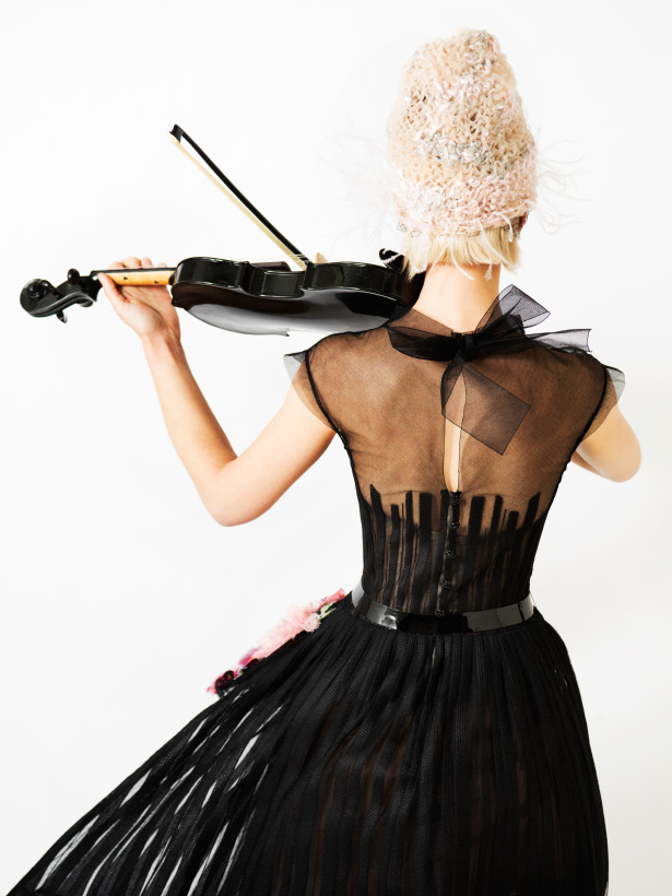 Violinist Margot Moe models spring 2015 Chanel couture at Ann Street Studio photographed by Jamie Beck, styled by Kelly Framel, makeup by Porsche Cooper, hair by Francis Anthony Rodriguez