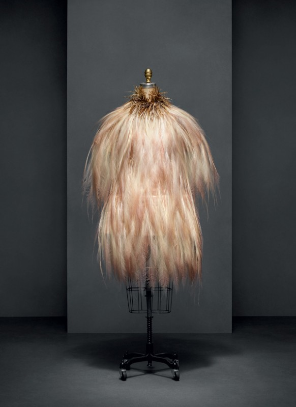 Yves Saint Laurent (French, 1936–2008) Evening dress, autumn/winter 1969–70 haute couture French Silk, bird-of-paradise feathers The Metropolitan Museum of Art, New York, Gift of Baron Philippe de Rothschild, 1983 (1983.619.1a, b) Photo © Nicholas Alan Cope