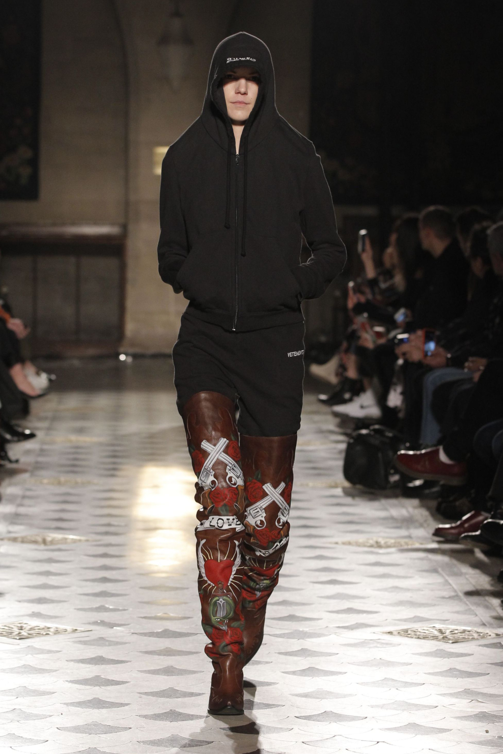 Mandatory Credit: Photo by REX/Shutterstock (5609525ak) Model on the catwalk Vetements show, Runway, Autumn Winter 2016, Paris Fashion Week, France - 03 Mar 2016